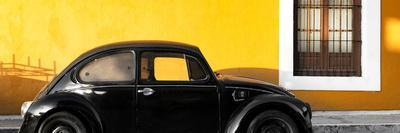 ¡Viva Mexico! Panoramic Collection - The Black VW Beetle Car with Dark Yellow Wall