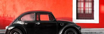 ¡Viva Mexico! Panoramic Collection - The Black VW Beetle Car with Red Wall