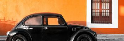 ¡Viva Mexico! Panoramic Collection - The Black VW Beetle Car with Orange Wall