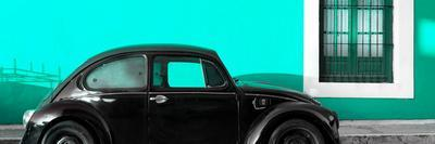 ¡Viva Mexico! Panoramic Collection - The Black VW Beetle Car with Coral Green Wall