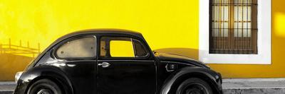 ¡Viva Mexico! Panoramic Collection - The Black VW Beetle Car with Yellow Wall