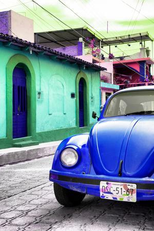 ¡Viva Mexico! Collection - Blue VW Beetle Car in a Colorful Street