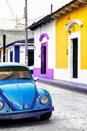 ¡Viva Mexico! Collection - Blue VW Beetle Car and Colorful Houses II