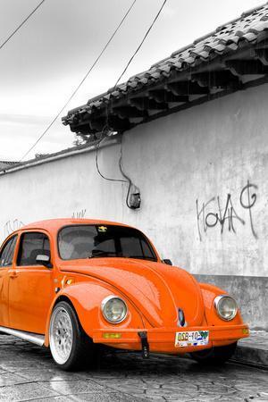 ¡Viva Mexico! B&W Collection - Orange VW Beetle in San Cristobal de Las Casas