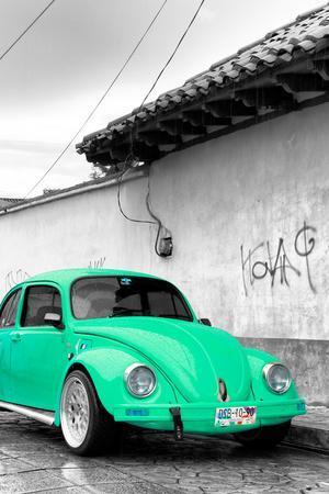 ¡Viva Mexico! B&W Collection - Green VW Beetle in San Cristobal de Las Casas