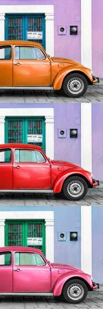 ¡Viva Mexico! Panoramic Collection - Three VW Beetle Cars with Colors Street Wall XXVI