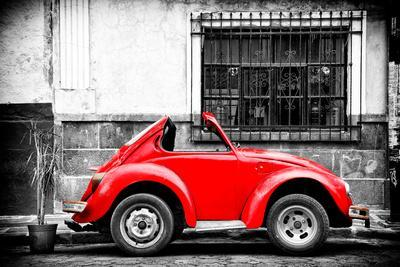 ¡Viva Mexico! B&W Collection - Small Red VW Beetle Car