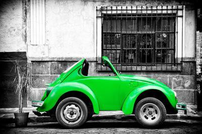 ¡Viva Mexico! B&W Collection - Small Kelly Green VW Beetle Car