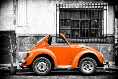 ¡Viva Mexico! B&W Collection - Small Orange VW Beetle Car