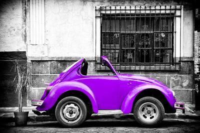 ¡Viva Mexico! B&W Collection - Small Red Purple Beetle Car