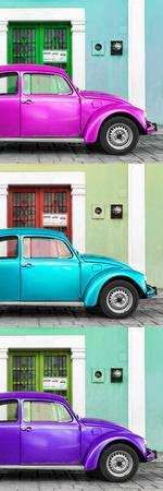 ¡Viva Mexico! Panoramic Collection - Three VW Beetle Cars with Colors Street Wall XXXVIII