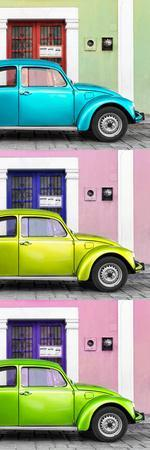 ¡Viva Mexico! Panoramic Collection - Three VW Beetle Cars with Colors Street Wall XXXVII