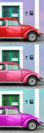 ¡Viva Mexico! Panoramic Collection - Three VW Beetle Cars with Colors Street Wall XXX