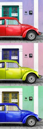 ¡Viva Mexico! Panoramic Collection - Three VW Beetle Cars with Colors Street Wall XXXVI