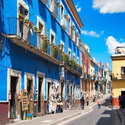 ¡Viva Mexico! Square Collection - Blue Street in Guanajuato