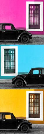 ¡Viva Mexico! Panoramic Collection - Three Black VW Beetle Cars XIII