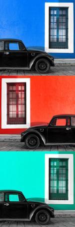 ¡Viva Mexico! Panoramic Collection - Three Black VW Beetle Cars XVII