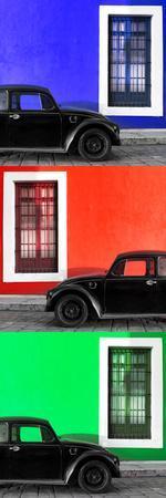 ¡Viva Mexico! Panoramic Collection - Three Black VW Beetle Cars XV
