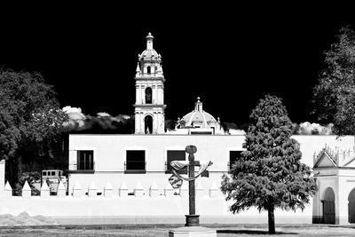¡Viva Mexico! B&W Collection - Courtyard of a Church in Puebla