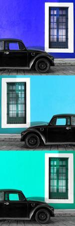 ¡Viva Mexico! Panoramic Collection - Three Black VW Beetle Cars XVIII