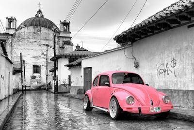 ?Viva Mexico! B&W Collection - Pink VW Beetle Car in San Cristobal de Las Casas