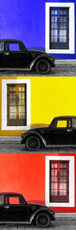 ¡Viva Mexico! Panoramic Collection - Three Black VW Beetle Cars XXV