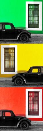 ¡Viva Mexico! Panoramic Collection - Three Black VW Beetle Cars XXVI