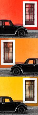 ¡Viva Mexico! Panoramic Collection - Three Black VW Beetle Cars XXII