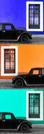 ¡Viva Mexico! Panoramic Collection - Three Black VW Beetle Cars XXIV