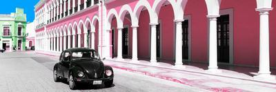 ¡Viva Mexico! Panoramic Collection - Black VW Beetle and Light Pink Architecture