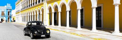 ¡Viva Mexico! Panoramic Collection - Black VW Beetle and Yellow Architecture