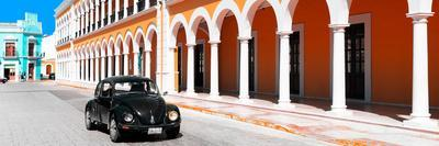 ¡Viva Mexico! Panoramic Collection - Black VW Beetle and Orange Architecture