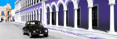 ¡Viva Mexico! Panoramic Collection - Black VW Beetle and Purple Architecture