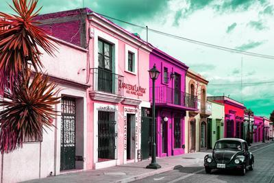 ¡Viva Mexico! Collection - Colorful Facades and Black VW Beetle Car III
