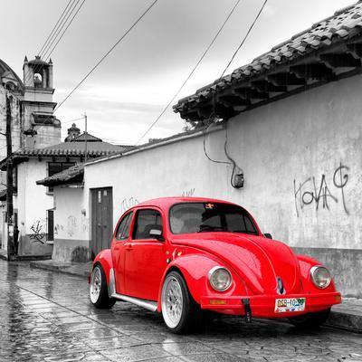 ¡Viva Mexico! Square Collection - Red VW Beetle Car in San Cristobal de Las Casas