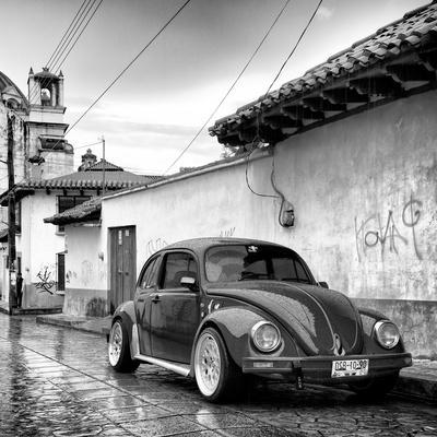 ¡Viva Mexico! Square Collection - VW Beetle Car in San Cristobal de Las Casas B&W