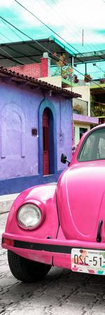 ¡Viva Mexico! Panoramic Collection - Pink VW Beetle Car and Colorful Houses