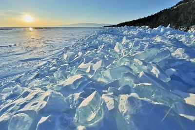 Ice Pile Of Broken Shelf Ice, Near The Shore Of Lake Baikal, Siberia, Russia, March