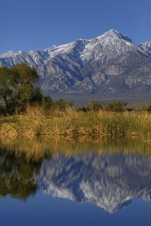 California, Sierra Nevada Mountains. Mt. Williamson Reflects in Lake