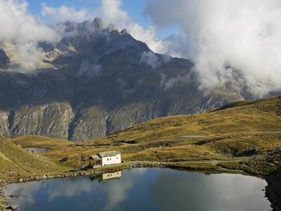 Switzerland, Zermatt, Schwarzsee, Chapel of Maria Zum Schnee Reflected in Schwarzsee