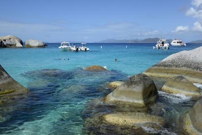 British Virgin Islands, Virgin Gorda. Boats and Tourists at the Baths