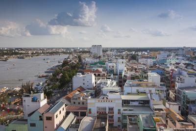 Vietnam, Mekong Delta. Can Tho, Elevated View of City and Can Tho River