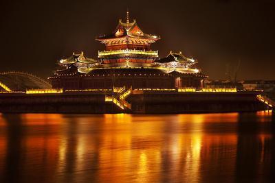 Ancient Temple Night Reflection Bridge Jinming Lake, Kaifeng, China
