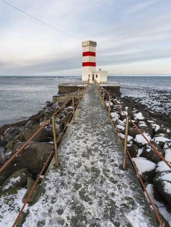 Cape Gardskagi with Lighthouse During Winter on the Reykjanes Peninsula. Iceland