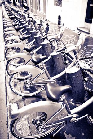 Velib Bicycles for Rent, Paris, France