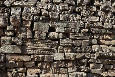 Stack, Fallen Stone Pieces from Bayon Temple Ruins, Angkor World Heritage Site