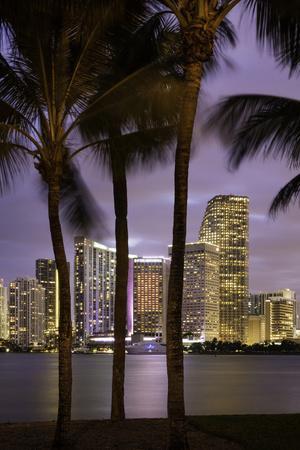 Twilight over Miami Skyline, Miami, Florida, Usa