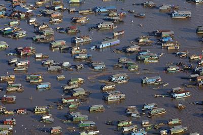Chong Kneas Floating Village, Tonle Sap Lake, Near Siem Reap, Cambodia