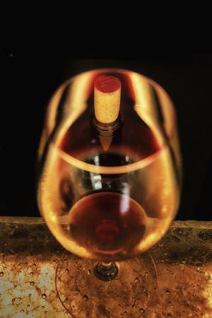 Washington State, Walla Walla. the Illusion of a Bottle Inside a Glass in a Walla Walla Winery