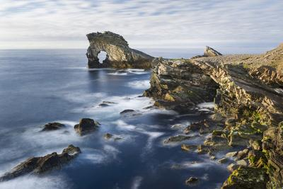 Foula Part of Shetland Islands. Cliffs in North at East Hoevdi with Natural Arch Gaada Stack